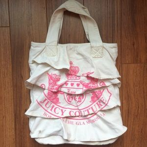 Juicy Couture large ruffled canvas tote